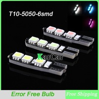 T10 6 SMD 5050 LED Canbus No Error Free Bulbs Car Clearance Lights, Wholesale Side Turn Indicator Light