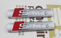 2pcs Auto car silvery S-line Sline for A4 S4 RS4 A6 TT A3 S3 Emblem Badge Sticker