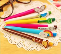 6 design available 100pcs/lot New Cute Kawaii Korea Novelty Ballpoint Pens Lovely Ball Pen Stationery Blue core Free shipping