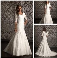 wholesale 2014 New arrival floor length mermaid modest lace wedding dress New Wedding Dresses 100% Guarantee Satisfaction