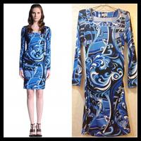 Free Shipping 2013 EPUCCI Women's New Dress Blue Round Neck Long Sleeve Temperament Printed Slim Stretch Jersey Dress