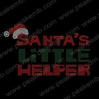 Hot Selling Shinning Christmas Santa'S Litter  Helper Iron On Transfer Wholesale Rhinestone Accessories Free Shipping 50Pcs/Lot