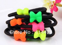Free Shipping,2013 New Fashion Neon Bows Elastic Hair Bands Ponytail Holder Hair Ties For Girls Accessories Wholesale 200pcs/lot