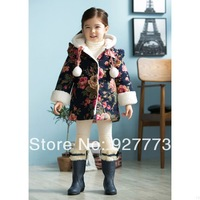 Children's clothing female child small wadded jacket velvet with a hood wadded jacket 2013 autumn and winter children