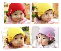 Infant wig hat autumn and winter hat child wig cap bow ear protector cap