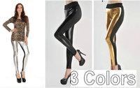 High Waist New 2 Tone Black Metallic Leather Look & Cotton Fashion Skinny Pants Leggings    3 COLORS