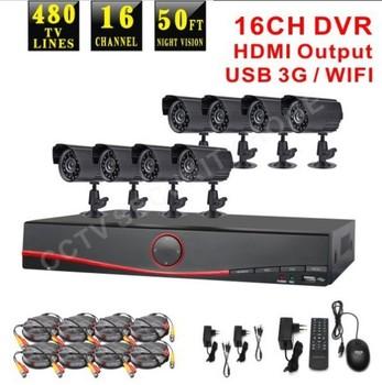 Free Shipping DHL! 16 Channel CCTV surveillance System 8pcs 480TVL Outdoor IR Cameras 16ch DVR Kit Security System