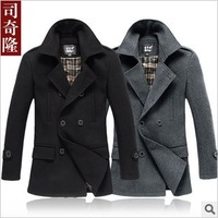 free shiipping  New winter men's woolen coat long paragraph windbreaker jacket Korean men Slim wool  trench coat male