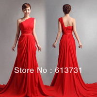 2013 Hot Selling Sexy Elegant One Shoulder Red Chiffon Long Modest Bridesmaids Formal Wedding Party Dress Q5454