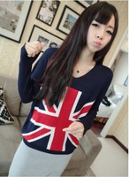 1pc /lot , Free Shipping 2013 New Fashion V-Neck Long Sleeve Loose Sweater  Women's  UK Flag Knitwear Winter