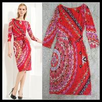 Free Shipping EPUCCI 2013 Women's New Dress Bright Big red Printed 3/4 Sleeve Temperament Slim Stretch Jersey Dress