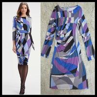 Free shipping 2013 EPUCCI Abstract Geometric print British Temperament Folds Slim Was thin Blue Stretch Jersey Silk Dress