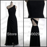 Free Shipping Floor-length Good Black Chiffon Scalloped One Hand Party Gown Beads Hot Pleats Split Front Real Evening Dresses