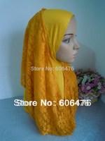 mu1384 new design  lace ahd cotton elegant muslim hijab many colors fashionable newst islamic hijab free shipping