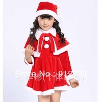 2013 Newest Girls 3-Piece set High Quality Red Velvet Little Red Christmas party dress cape long-sleeved suit free shipping
