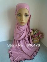 mu1385 new design  soft cotton with cotton lace muslim hijab many colors fashionable newst islamic hijab  scarf free shipping