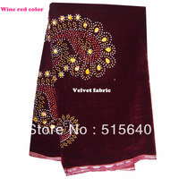 Hot sale african velvet lace with stone, japanese style swiss velvet lace free shipping AMY001 Wine red color