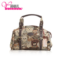 2013 fashion leather with the lovely lady handbag Chinese panda jacquard cloth, inclined shoulder bag # 841 free shipping