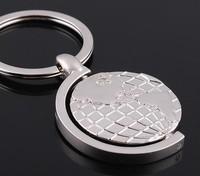stainless steel Globe ball Keychain Metal Keychain rotating globe key rings