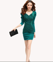 Free shipping,2013 new women's V-neck long-sleeve basic skirt women skirt winter one-piece dress autumn and winter,wholesale,N29