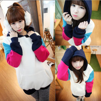 2013 autumn color block school wear sweatshirt female plus velvet thickening long-sleeve hooded outerwear female