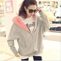 2013 autumn spring and autumn plus size casual long-sleeve school wear loose cardigan plus size sweatshirt outerwear female