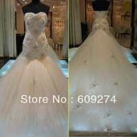 2013 Sheer Vintage Mermaid SWAROVSKI Wedding Dresses Sweetheart Crystals Backless Long Cathedral Train Bridal Dress Gowns