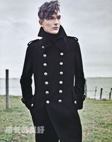 World war ii t107 overcoat fashion men's clothing design long outerwear woolen cavies buckle metal