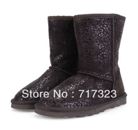2013 winter New arrival warm Sexy leopard grain fashion boots Free shipping, Mid high quality genuine leather snow boots
