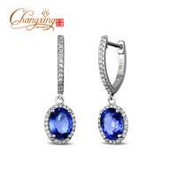 6x8mm Natural 2.88ct AAA Tanzanite 14K Gold Diamond Drop Earrings
