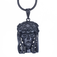 Black on Black Jesus Face Pendant Necklace with 36inchesFranco chains necklace XX190