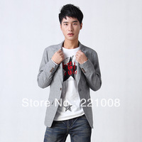 NEW 2013 Male british style business blazer casual suit linen fluid slim grey single FREE SHIPPING