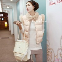 Cii 2013 autumn and winter cotton vest Korean female models fur imitation rabbit fur collar down cotton vest cotton vest Europe