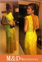 A-Best Selling kate middleton Chiffon V neck Lace beading floor length celebrity yellow evening dresses vestido de renda amarelo