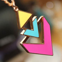 New Arrival Fashion Triangle Geometry Candy Color Punk Pendant Necklaces-Free Shipping