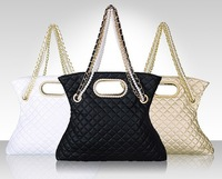2013 fashion vintage bags plaid pearl chain CC shoulder handbag messenger bag fashion charm bead womens brand tote bag