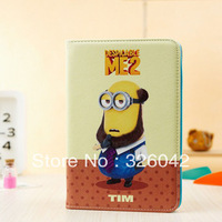 For iPad mini Cute Anime Cartoon Despicable Me Minion Flip Wallet Card Stand Leather Cases Cover free shipping