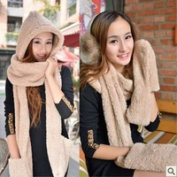 Sale autumn winter lady scarf hat gloves one piece set hooded lamb wool cute girls women children beige coffee pink scarves hats