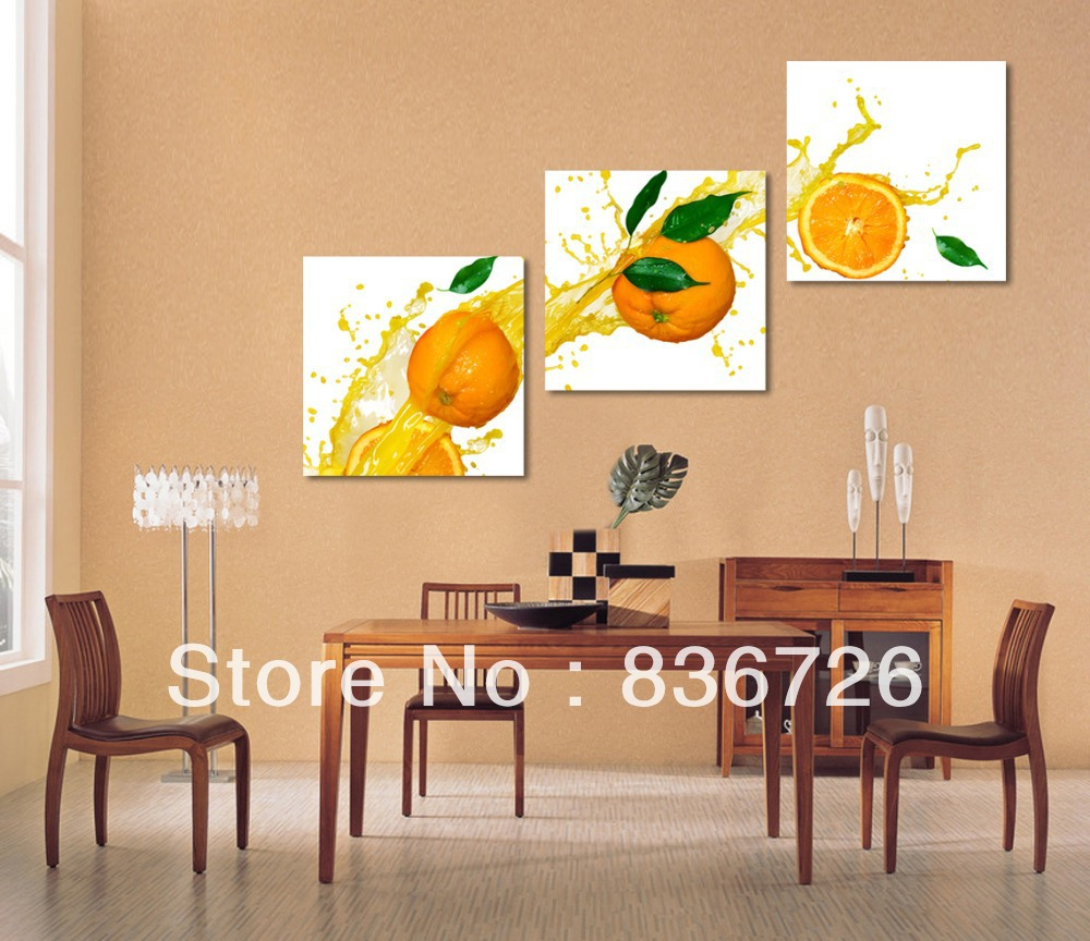 Free shipping 3 piece wall decor paintings canvas modern Dining room wall art