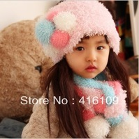 Winter baby hat children hat scarf two-piece set female baby plush hat