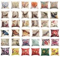 """Cotton Linen Pillow Case Flower Bird& Multi-colors Butterfly Tree Alphabet Hold Cushion Cover Waist Pillow DECORATIVE PILLOW 18"""""""