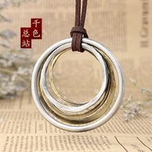 Fashion brief casual long design leather necklace fashion vintage women necklace retro circle finishing(China (Mainland))