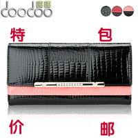 Women's long design wallet diamond genuine leather female wallet japanned leather Women wallet women's day clutch