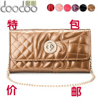 Autumn plaid embroidered cowhide genuine leather wallet Women banquet clutch women's chain bag