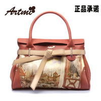 Artmi 2013 women's bag romantic print bag bow women's handbag high quality PU Leather shoulder bag,new arrial,hot sale,wholesale