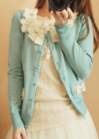 Autumn rustic 2013 small fresh lace rose short design long-sleeve sweater female cardigan thin