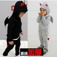 Retail 2013 hoodies + trousers boys clothing sets kids outwear+pants kids clothes devil set