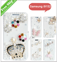 Fashion Gift Diamond Bling Wallet Flip PU Leather Phone Case Cover For Samsung i9152 Galaxy Mega 5.8 +Free Screen Protector film