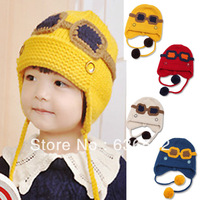 Autumn-Winter 2013 Children's Hats Knitting  Caps Solid Earlap Cute Pompom 3 Colors Choose Kids Baby Beanie Free Shipping