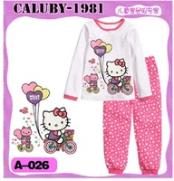 Free Shipping , brand Caluby, Boys Girls Sleepwear Children Cartoon Hello Kitty Pajamas, Kids long Sleeve Pyjamas 6set/lots